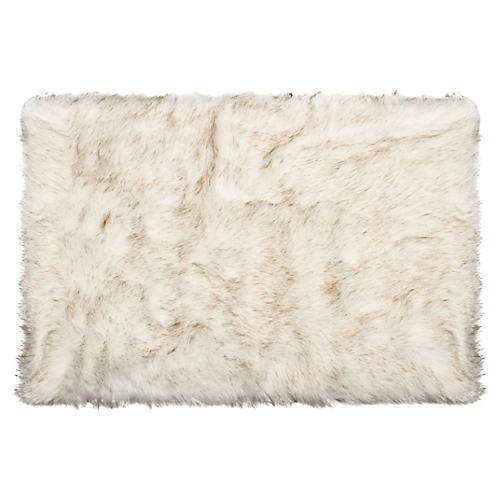 2'x3' Hudson Faux Sheepskin Rug, Gradient Tan