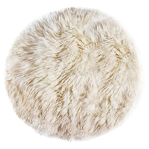 5'x5' round New Zealand Sheepskin Rug, Natural