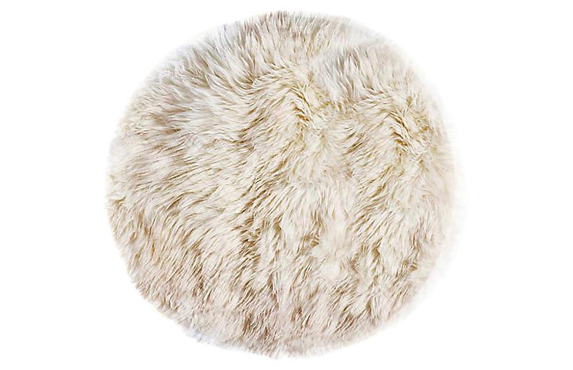 5'x5' round New Zealand Sheepskin Rug, Natural