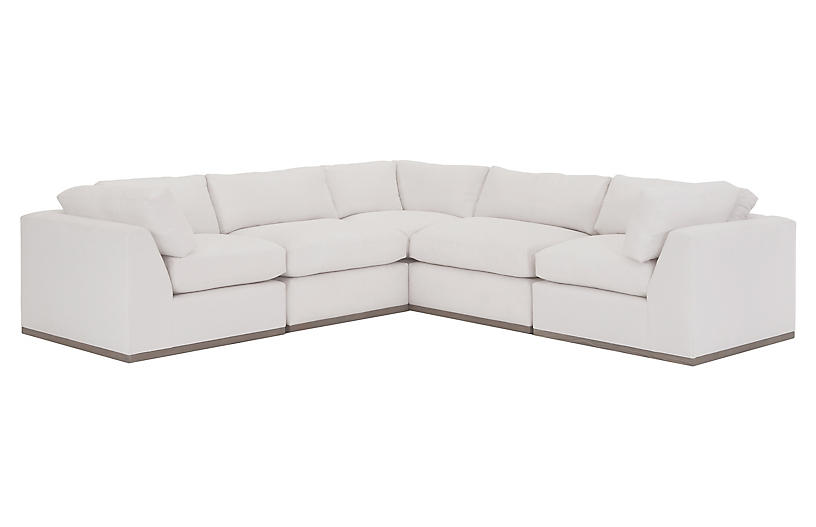 Pratt L-Shaped Sectional, White Crypton