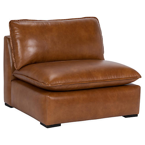 Rayna Slipper Chair, Caramel Leather