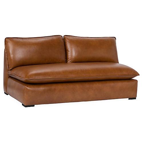 Rayna Armless Sofa, Caramel Leather