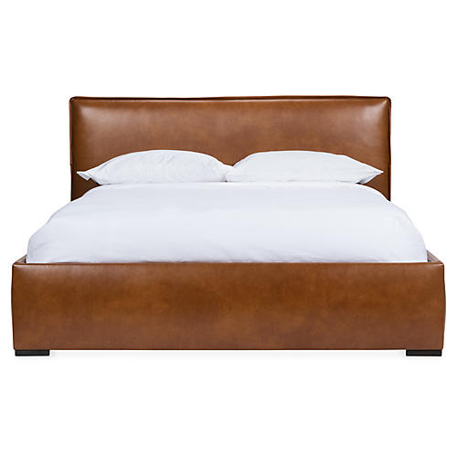 Rayna Platform Bed, Caramel Leather