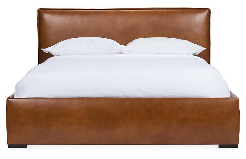 Rayna Platform Bed, Caramel Leather