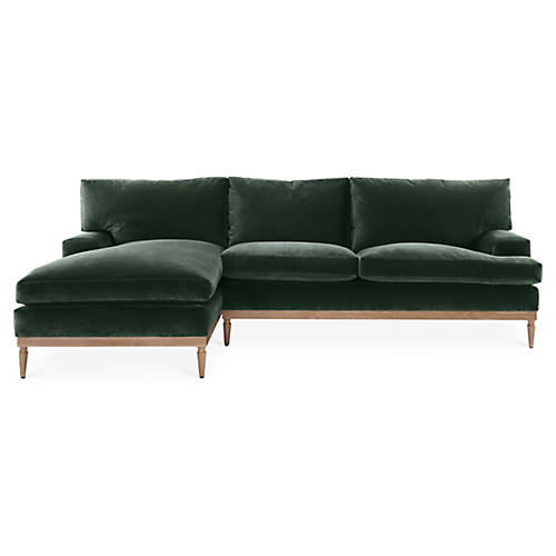 Sutton Left-Facing Sectional, Forest Green Velvet