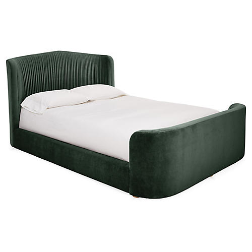 Clio Panel Bed, Forest Green Velvet