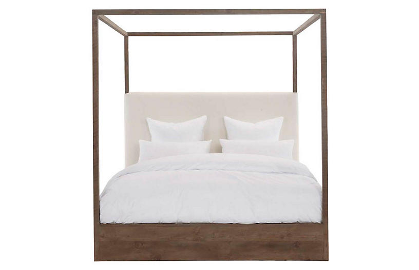 Eastern Canopy Bed, Ivory/Natural Linen
