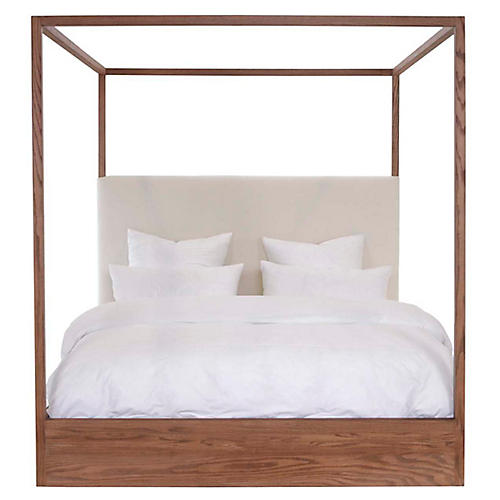 Eastern Canopy Bed, Ivory /Oak Linen