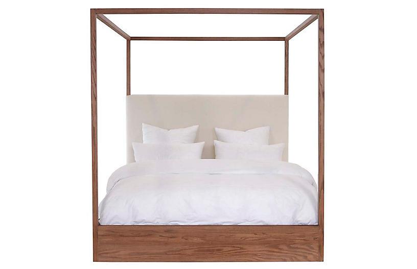 Eastern Canopy Bed, Ivory /Oak Linen