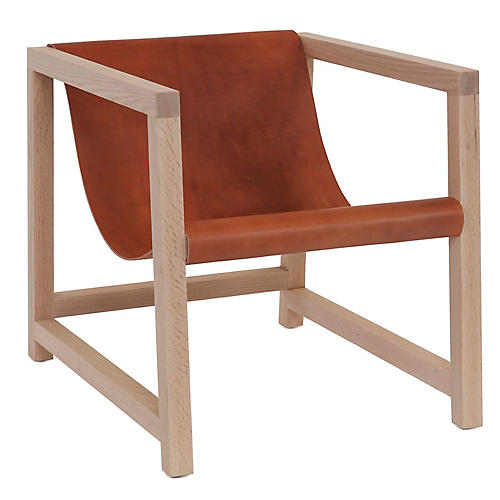 Mead Accent Chair, Chestnut Leather