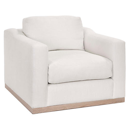 Wesley Club Chair, Ivory Linen