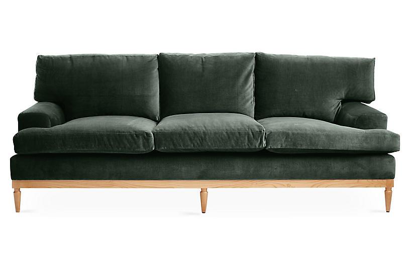 Sutton Sofa, Forest Green Velvet