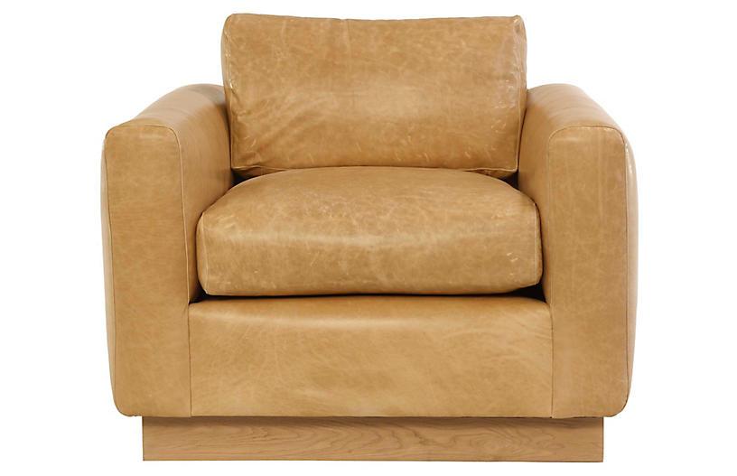 Furh Club Chair, Caramel Leather