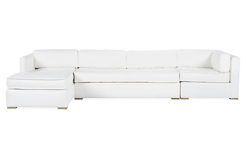 Lane Left-Facing 3-Pc Modular Sectional, White