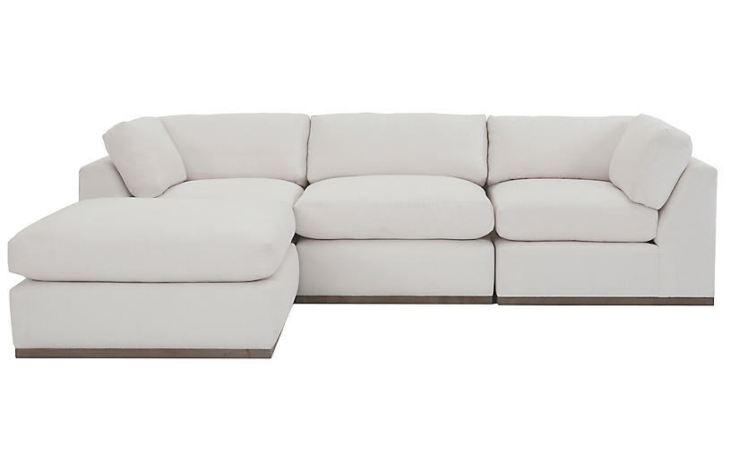 Pratt 4-Pc Reversible Sectional, White Crypton