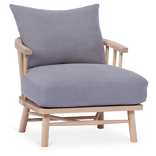 Bauer Accent Chair, Light Gray Linen