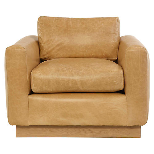 Furh Swivel Club Chair, Caramel Leather