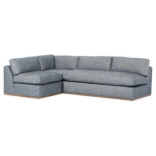 Pratt 3-Pc Modular Sectional, Indigo Crypton