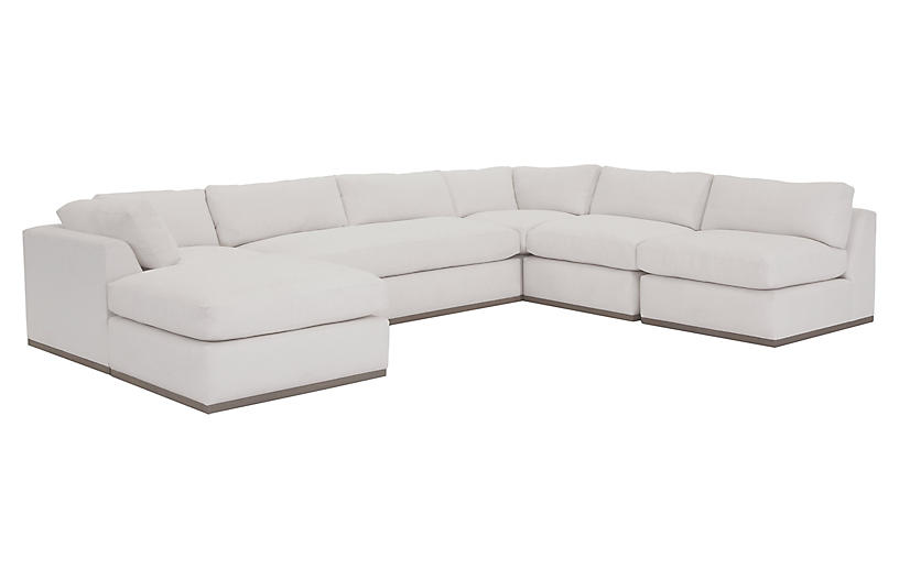 Pratt 5-Pc Sectional, White Crypton