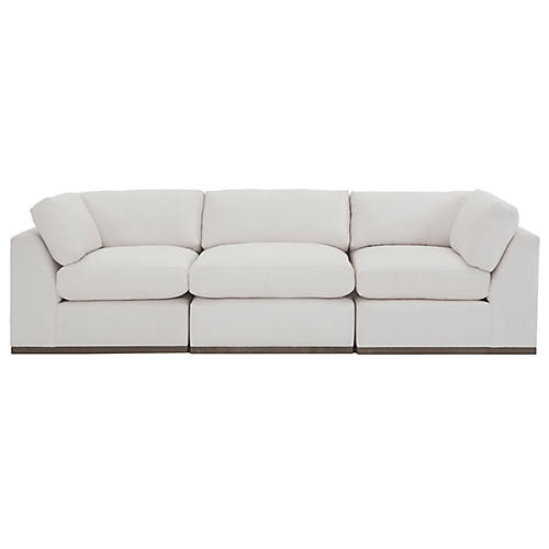 Pratt 3-Pc Modular Sofa, White Crypton