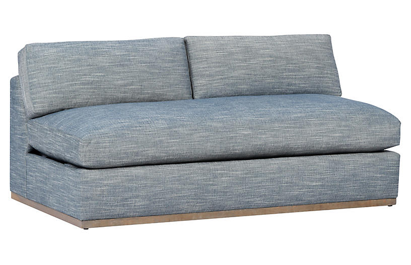 Pratt Armless Sleeper Sofa, Indigo Crypton