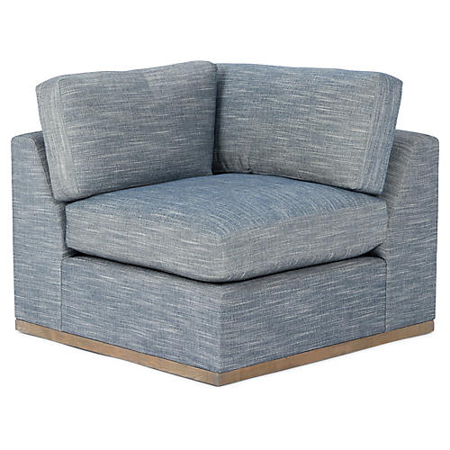 Pratt Corner Chair, Indigo Crypton
