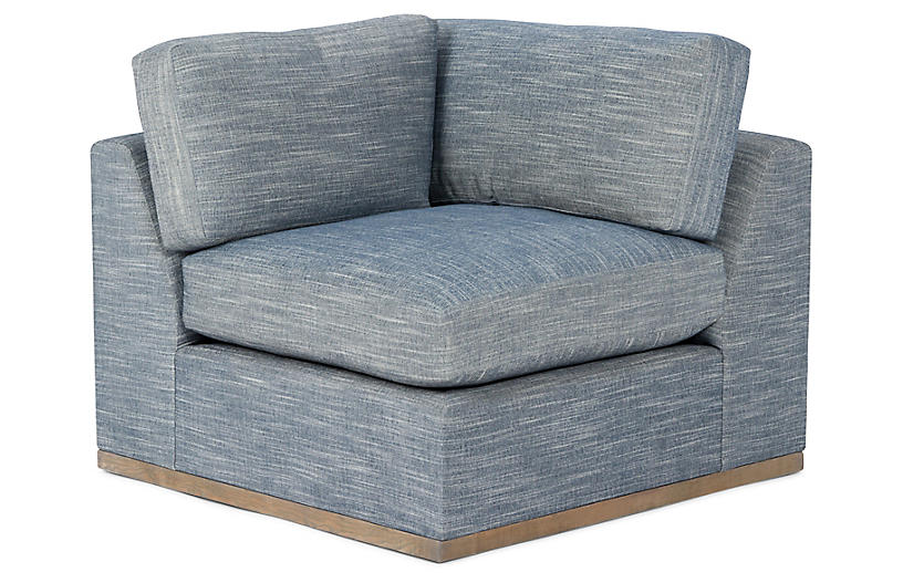 Pratt Corner Chair, Indigo Crypton