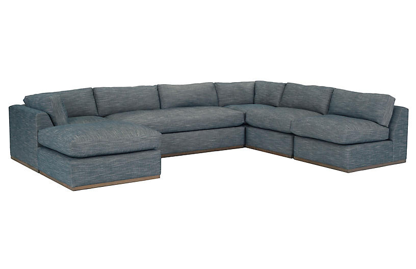 Pratt 6-Pc Sleeper Sectional, Indigo Crypton