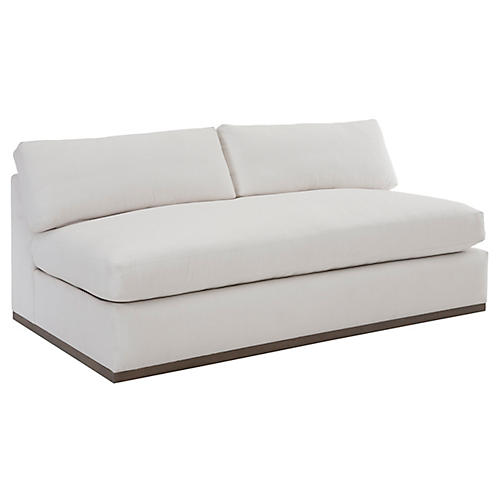 Pratt Armless Sleeper Sofa, White Crypton