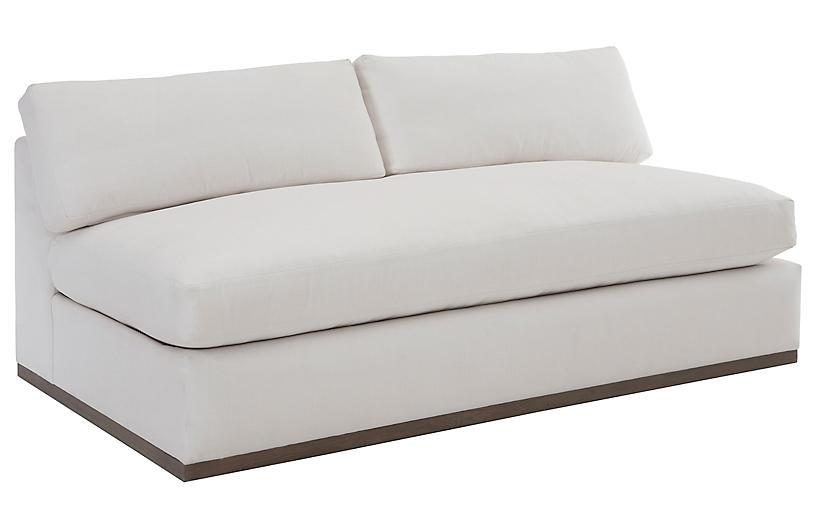 Pratt Armless Sofa, White Crypton