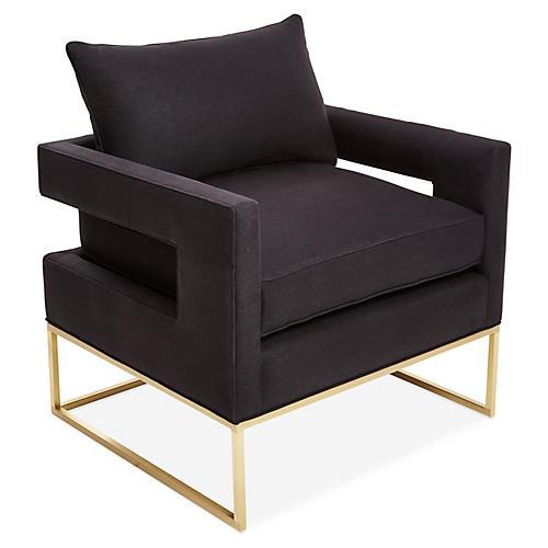 Bevin Accent Chair, Brass/Black Linen