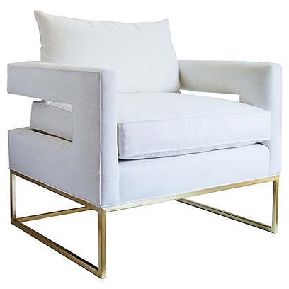 Bevin Chair, Brass/Ivory Linen