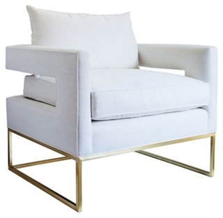 Bevin Chair, Brass/Ivory Linen. Come be inspired by Get the Look: Warm White Living Room Design With Unfussy Sophisticated Style...certainly soothing indeed. .