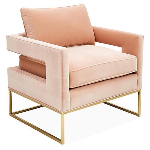 Bevin Accent Chair, Brass/Blush Velvet