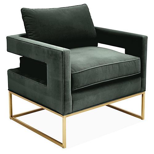 Bevin Accent Chair, Brass/Forest Velvet