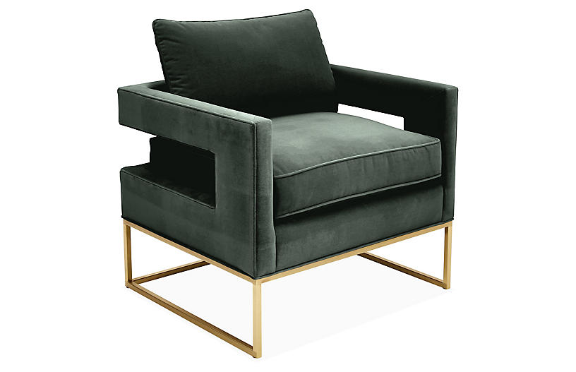 Bevin Accent Chair, Brass/Forest Velvet