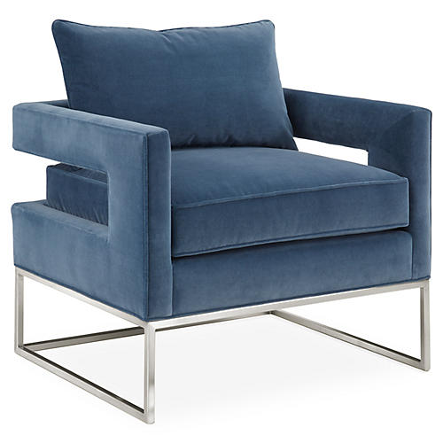 Bevin Chair, Chrome/Harbor Blue Velvet