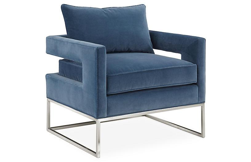Bevin Chair, Chrome/Harbor Blue Velvet