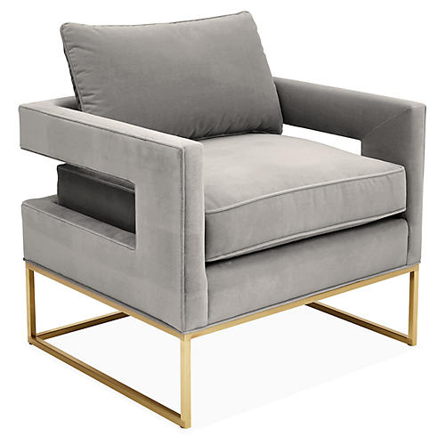 Bevin Accent Chair, Brass/Light Gray Velvet