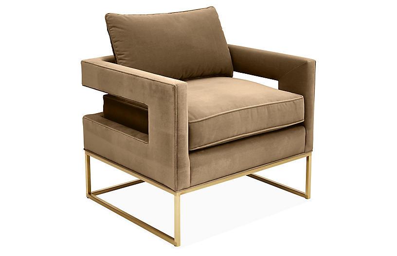 Bevin Accent Chair, Brass/Mink Velvet