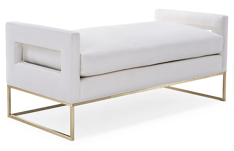 Bevin Daybed, Brass/Ivory Linen