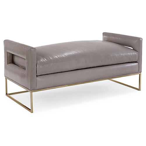 Bevin Daybed, Brass/Oyster Leather