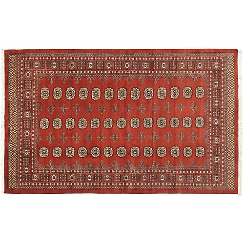 "5'7""x9'2"" Finest Peshawar Bokhara Rug, Dark Copper"