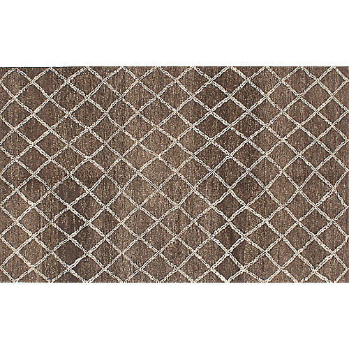 "5'1""x8'3"" Arlequin Rug, Brown"