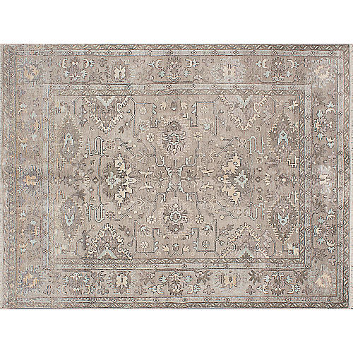 """8'8""""x11'8"""" Parklane Hand-Knotted Rug, Stone"""