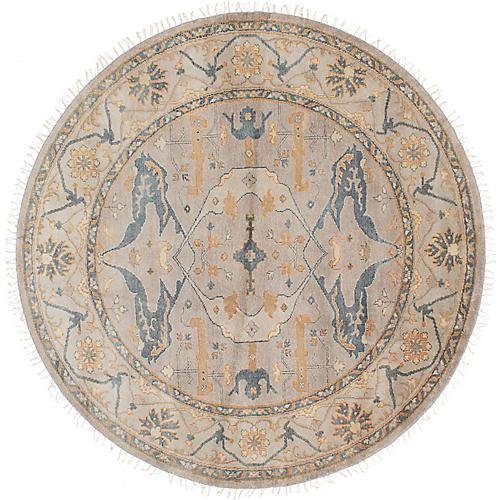 8'x8' Royal Oushak Rug, Gray/Gold