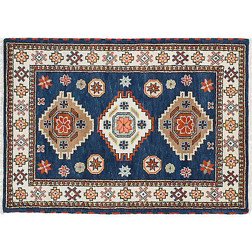 "3'11""x5'11"" Royal Kazak Rug, Cream/Navy Blue"