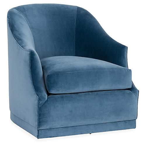 Bridget Swivel Club Chair, Harbor Blue Velvet