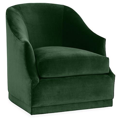 Brooke Swivel Club Chair, Emerald Velvet
