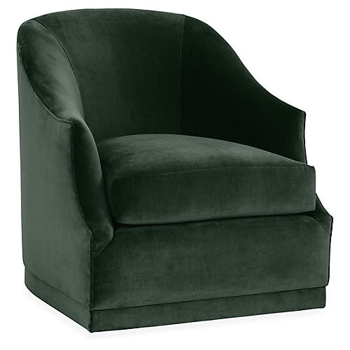 Brooke Swivel Club Chair, Forest Velvet